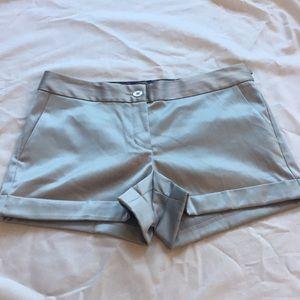 Express silver silk shorts